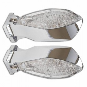 LED blinkry MICRO SPACE CLEAR, se zadním světlem, hliníkové, chrom (pár - 2ks)