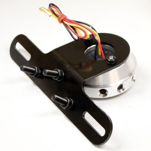 LED zadní světlo CNC SMOKE, stříbrné, s držákem a osvětlením SPZ