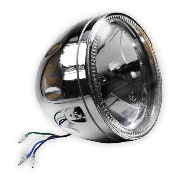 """Přední hlavní světlo čiré s LED parkovacím světlem, 5 3/4"""", H4 60/55W, chrom"""