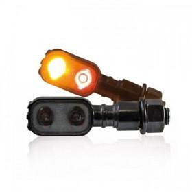 Power-LED blinkry FLUTED SMOKE, se zadním světlem, černé, (pár - 2ks)