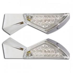 LED blinkry SQUARE CLEAR, chrom (pár - 2ks)
