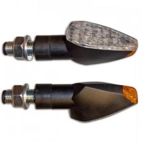 LED blinkry PEAK CLEAR, černé, rovné sklo (pár - 2ks)