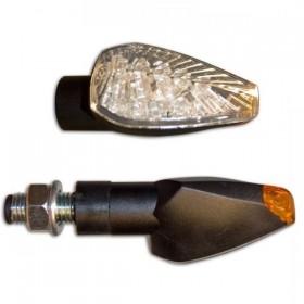 LED blinkry PEAK CLEAR, černé, konvexní sklo (pár - 2ks)