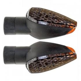 LED blinkry PEAK SMOKE, černé, rovné sklo (pár - 2ks)