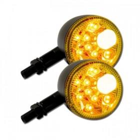 LED blinkry PRISMA CLEAR, s parkovacím světlem, hliníkové, černé matné (pár - 2ks)