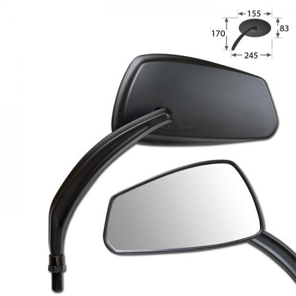 Zrcátka MATERA, hliníková, černá, závit M10, (pár - 2ks)