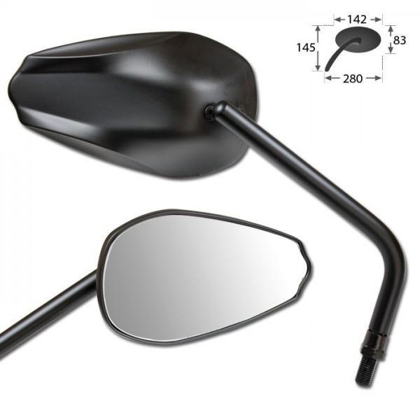 Zrcátka COMO, hliníková, černá, závit M10, (pár - 2ks)