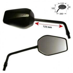 Zrcátka 125, plastová, černá matná, závit M10 pravý, (pár - 2ks)