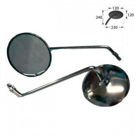 Zrcátka s vypouklým sklem, chrom, závit M10 pravý, (pár - 2ks)
