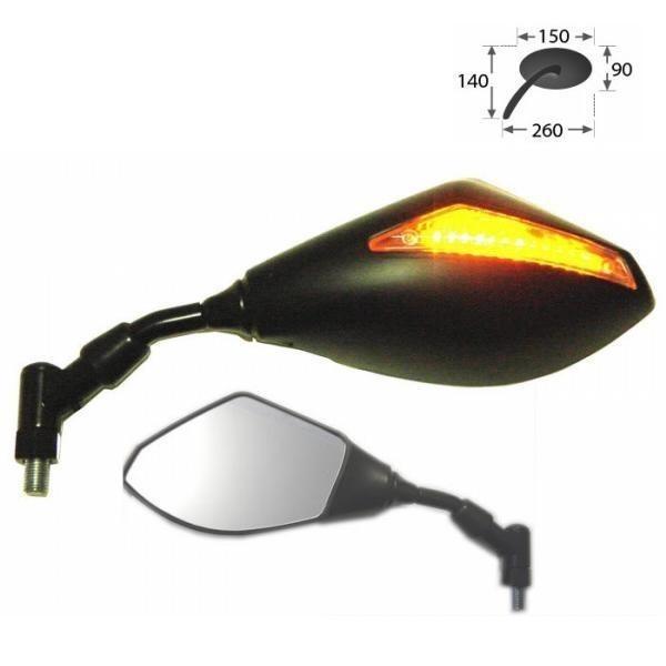 Zrcátko s LED blinkrem, černé, závit M10, (1ks)