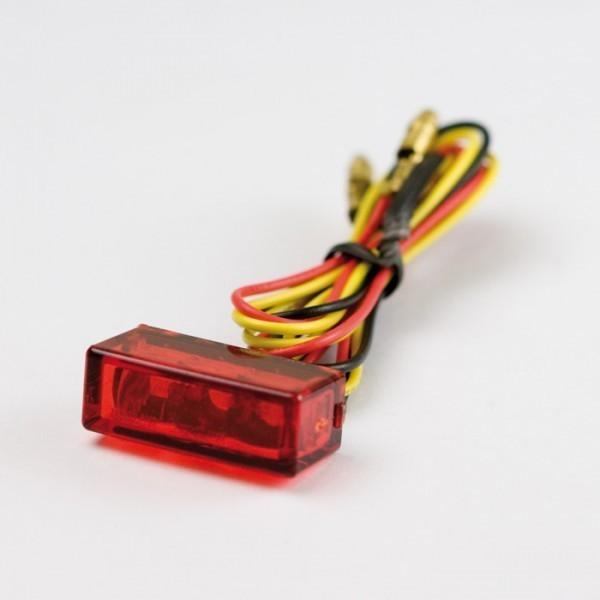 Mini LED zadní světlo BRICK 3 RED, bez osvětlení SPZ, 27x10x12 mm, červené