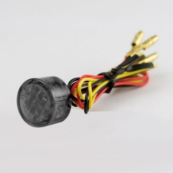 LED zadní světlo TWENTY SMOKE, bez osvětlení SPZ, Ø 20x13 mm, kouřové