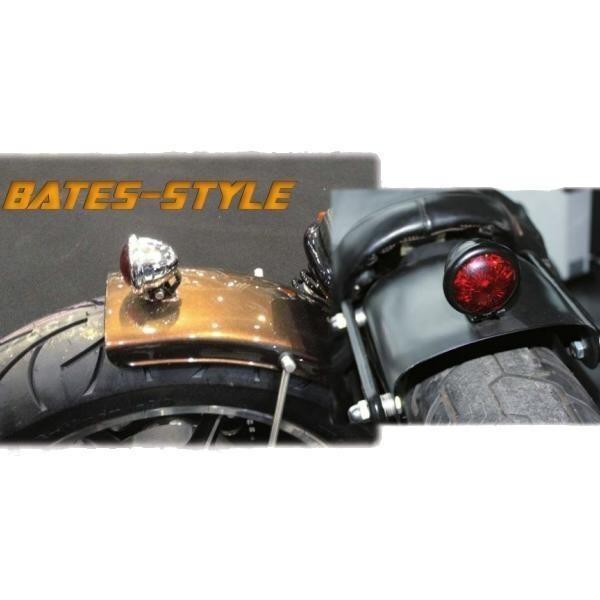 LED zadní světlo BATES STYLE černé s měděným kroužkem, bez osvětlení SPZ, Ø 57mm