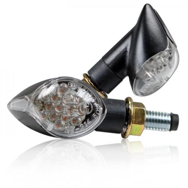 LED blinkry KNOB CLEAR, černé (pár - 2ks), čiré