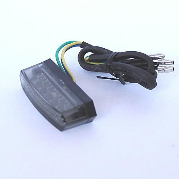 Mini LED zadní světlo ROUGH SMOKE, bez osvětlení SPZ, rozměry 50x18x20 mm, kouřové