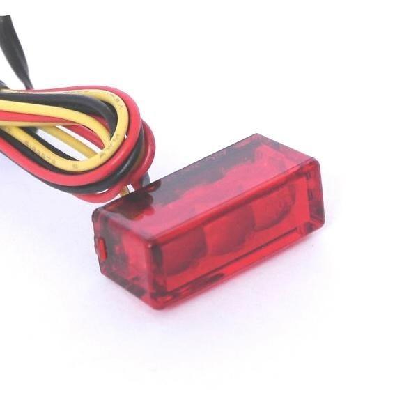 Mini SMD LED zadní světlo BRICK 3 RED, bez osvětlení SPZ, 27x10x12 mm, červené