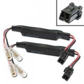 Harley Davidson, kabely s odporem 15 Ohm / 10W a adaptérem pro připojení LED blinkrů, (pár-2ks)