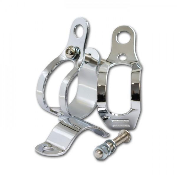Univerzální držáky blinkrů na přední vidlici Ø 30 - 45 mm, ocelové, chromované, (pár-2ks)