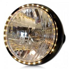 """Přední hlavní světlo NEW NEVO čiré s LED parkovacím světlem, 7"""", H4, černé"""