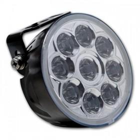 LED přídavné dálkové světlo NOVE čiré, Ø 100 mm, 9x LED 12V 3W, černé