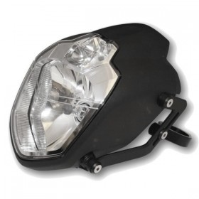 Přední hlavní světlo UB 1 čiré s parkovacím světlem a hliníkovými držáky, H4, černé