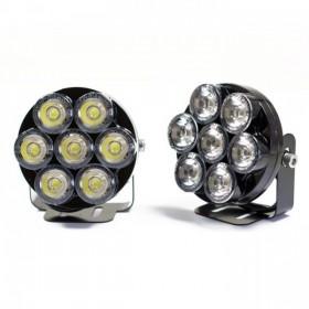 LED světla pro denní svícení, čirá, Ø 75mm, včetně držáků, (pár -  2ks)