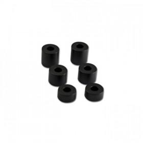 Sada hliníkových distančních válečků, vnítřní Ø 8mm, vnější Ø 20mm, délka 10 / 15 / 20mm, černé (6ks)