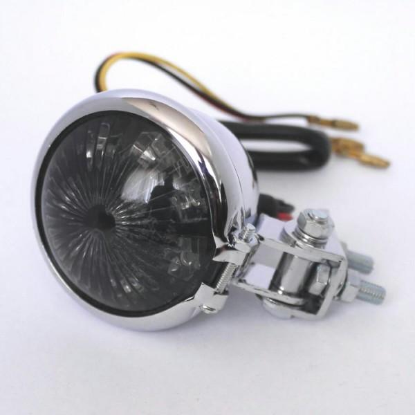 LED zadní světlo BATES STYLE chrom, bez osvětlení SPZ, Ø 57mm