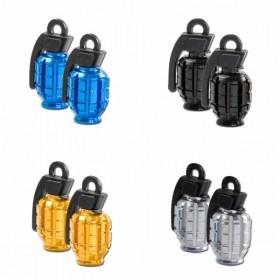 Hliníkové čepičky ventilků ve tvaru granátu, eloxované různé barvy, (pár-2ks)
