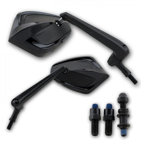 Zrcátka MOVE, hliníková, černá, závit M10, (pár - 2ks)