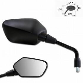 Zrcátko SC60, pravé, z ABS plastu, černé, závit M10 pravý, (1ks)
