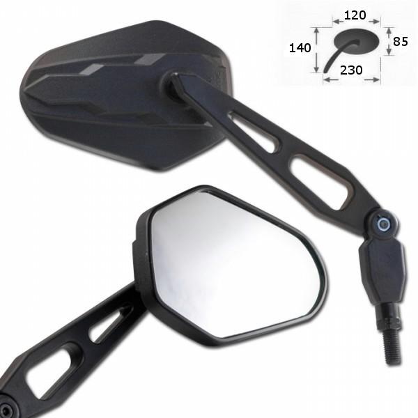 Zrcátka DIEGO, z ABS plastu, černá, závit M8 2x pravý a 1x levý, (pár -  2ks)