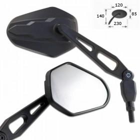 Zrcátka DIEGO, z ABS plastu, černá, závit M10 2x pravý a 1x levý, (pár -  2ks)