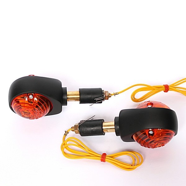 """Blinkry do řidítek 7/8"""" (22mm) a 1"""" (25mm), oranžové sklo, černé matné, (pár - 2ks)"""
