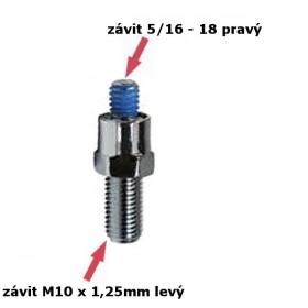 Adaptér na zrcátka, závit 5/16 - 18 pravý a M10 x 1,25mm levý, chromovaný, (1ks)