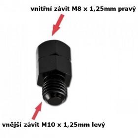 Adaptér na zrcátka, vnitřní závit M8 x 1,25mm pravý a  vnější závit M10 x 1,25mm levý, barva černá, (1ks)