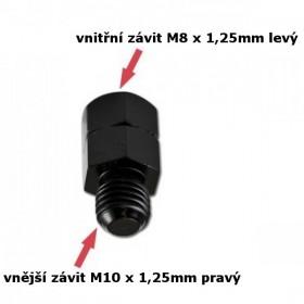 Adaptér na zrcátka, vnitřní závit M8 x 1,25mm levý a  vnější závit M10 x 1,25mm pravý, barva černá, (1ks)