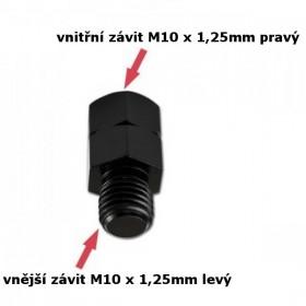 Adaptér na zrcátka, vnitřní závit M10 x 1,25mm pravý a  vnější závit M10 x 1,25mm levý, barva černá, (1ks)