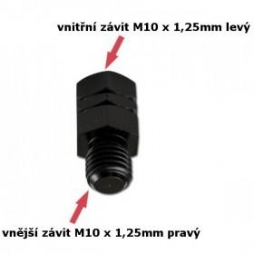 Adaptér na zrcátka, vnitřní závit M10 x 1,25mm levý a  vnější závit M10 x 1,25mm pravý, barva černá, (1ks)