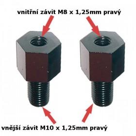 Adaptéry na zrcátka, vnitřní závit M8 x 1,25mm pravý a  vnější závit M10 x 1,25mm pravý, barva černá, (pár - 2ks)