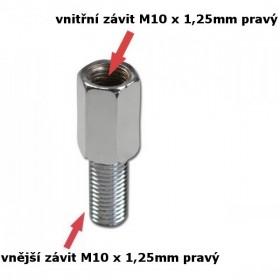 Adaptér na zrcátka, vnitřní závit M10 x 1,25mm pravý a  vnější závit M10 x 1,25mm pravý, chromovaný, (1ks)