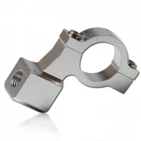 """Hliníková objímka na zrcátka, vnitřní závit M10 x 1,25mm pravý, barva stříbrná, na řidítka 7/8"""" (22mm), (1ks)"""