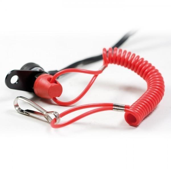 Nouzový vypínač zapalování s otevřeným okruhem a držákem, pro čtyřkolky / ATV a motocykly, barva černá / červená