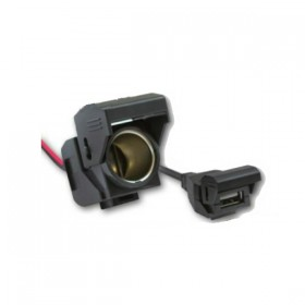 Dvojitá zásuvka na řidítka, Daytona, 1x USB 5V / 1A + 1x 12V / 10A, kabel 120cm