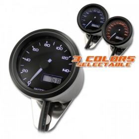 Tachometr Daytona Velona 48, max. 140 km/h, Ø 48mm, tři barvy podsvícení, černý