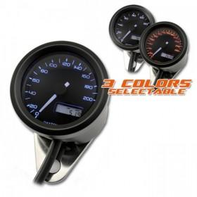 Tachometr Daytona Velona 48, max. 200 km/h, Ø 48mm, tři barvy podsvícení, černý