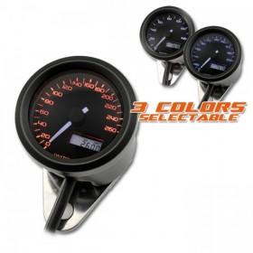 Tachometr Daytona Velona 48, max. 260 km/h, Ø 48mm, tři barvy podsvícení, černý