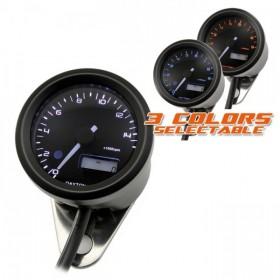 Otáčkoměr Daytona Velona 48, max. 15000 rpm, Ø 48mm, tři barvy podsvícení, černý