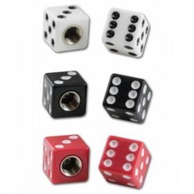 Plastové čepičky ventilků ve tvaru hrací kostky, různé barvy, (pár-2ks)