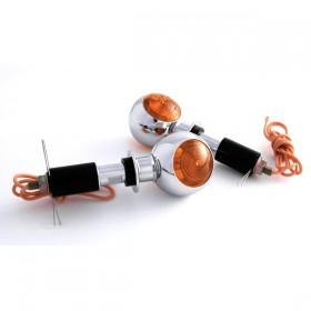 "Blinkry BULLS-EYE, do řidítek 7/8"" (22mm) a 1"" (25mm), oranžové sklo, chromované, (pár - 2ks)"